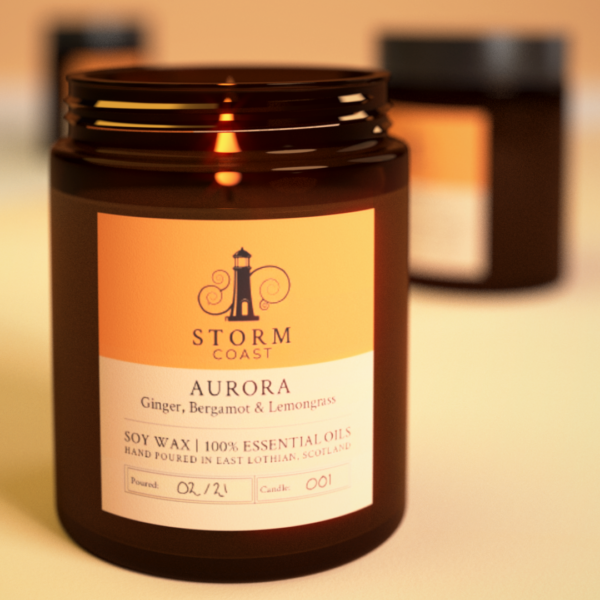 A render of a candle burning in an amber jar